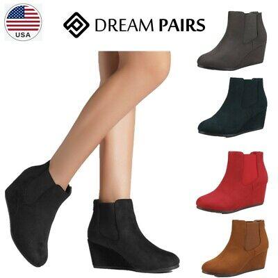 DREAM PAIRS Womens Wedge Heel Ankle Boots Ladies Casual Zipp