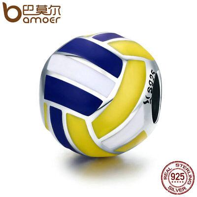 BAMOER 925 Sterling silver Charm Enamel Love volleyball For bracelet Jewelry](Volleyball Charm Bracelet)