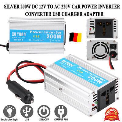 200W Auto Power Inverter Wechselrichter DC12V zu AC220V USB Ladegerät Adapter GS Auto-power-inverter