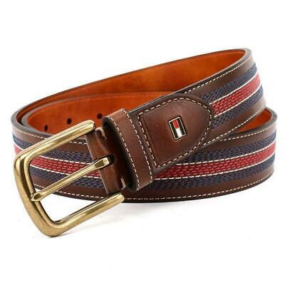 Tommy Hilfiger Men's 35MM Center Stripe Stitch Leather Belt Brown 11TL02X057 (Brown Striped Belt)