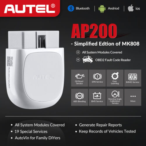 Autel Wireless Bluetooth OBD2 Scanner Dongle Android//iOS MaxiAP AP200H Code Reader Health Status with Health Reports OBDII ENG//Transmission//ABS//SRS Diagnostic Tool OLS//BMS Resets for All Vehicles