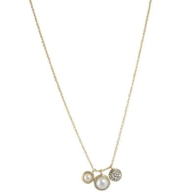 (NEW Dainty White Simulated Pearl Pop Trio Charm Pendant Necklace in Goldtone)