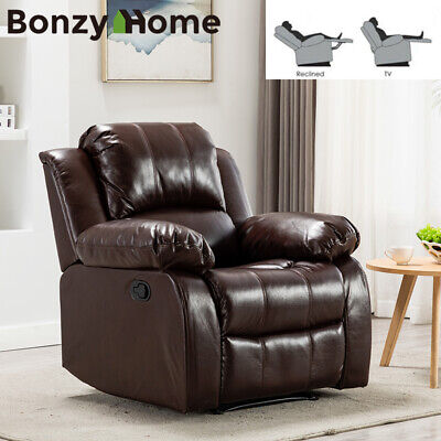 Manual Sofa Recliner Breathable Leather Chair Wide Backrest Living Room Seat New