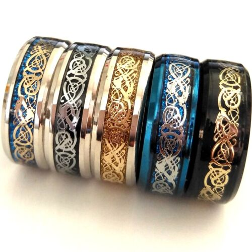 Hot 50pcs Color Mixed Carbon Fiber Dragon Ring 316L Stainless Steel Cool Jewelry