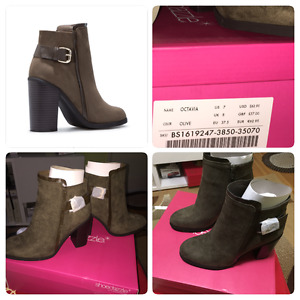 Booties in olive color
