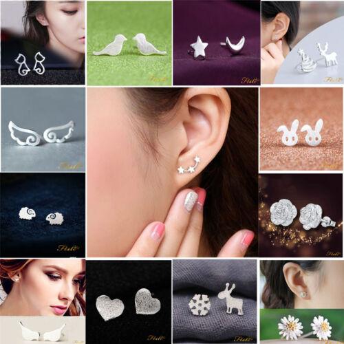 UK 925 Sterling Silver 3 Star Stud Earrings Ear Jewellery Women