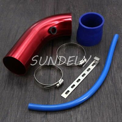 3''/ 76mm Car Cold Air Intake Induction Pipe Filter Tube Universal Fit Red New!
