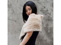 DAYMISFURRY---Knitted Rex Rabbit Fur Shawl In Beige