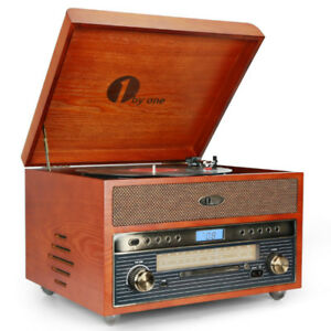 Nostalgic Wooden Turntable Bluetooth Vinyl Record Player with FM