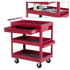 Rolling Tool Cart 3 Tray 1 Drawer Storage Chest Garage Utility