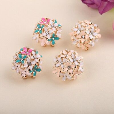 1/2 pairs- Women Lady Elegant Flower Pearl Rhinestone Ear Stud Earrings