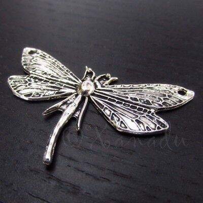 Dragonfly Connectors 49mm Antiqued Silver Plated Pendants C3103 - 2, 5 Or 10PCs Dragonfly Silver Plated Charms