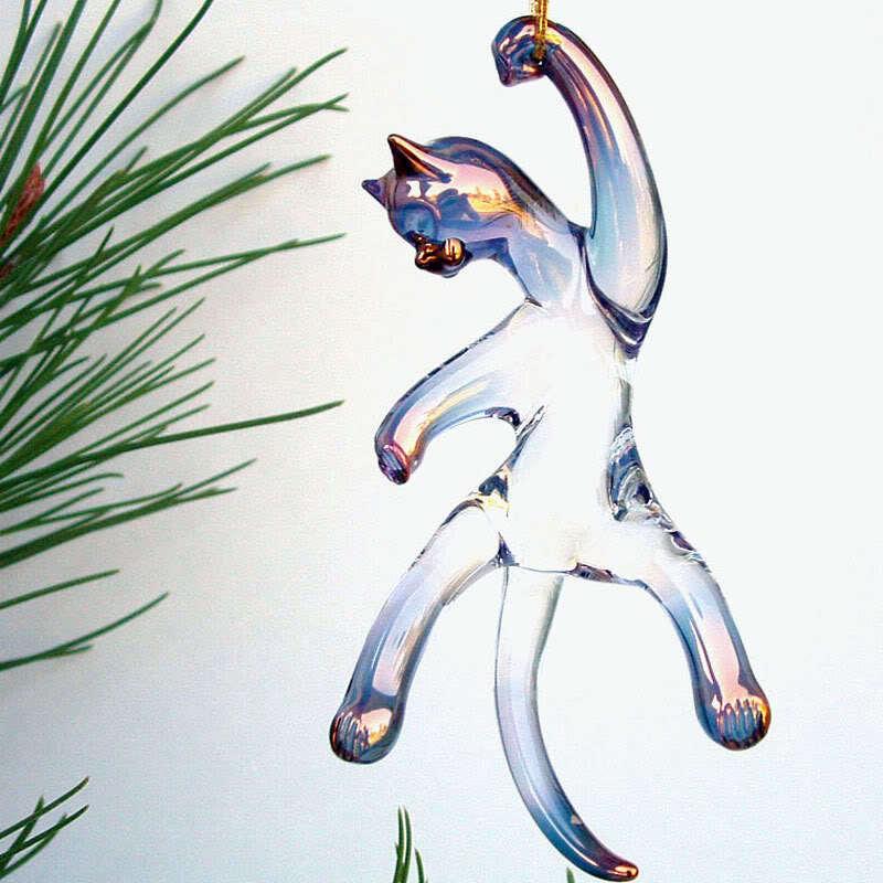 Cat Kitten Hand Blown Glass Christmas Tree Ornament Figurine