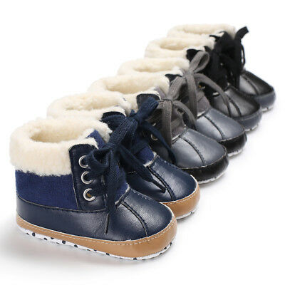 USA Infant Toddler Shoes Baby Boy Ankle Snow Boots Crib Shoes Anti-slip (Baby Shoes Boots)