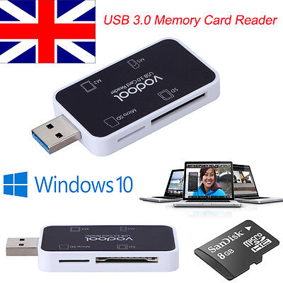 UK High Speed 4 in 1 USB 3.0 Memory Card Reader Flash Adapter Micro SD SDXC TF