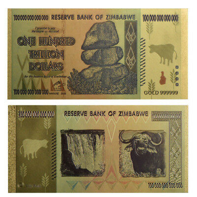 Zimbabwe 100 Trillion Dollars Banknote Color Gold Bill World Money Collection