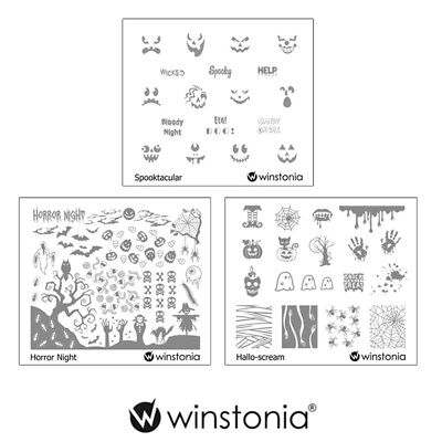 Winstonia 3pcs Halloween Nail Stamp Image Plates Set Easy Stamping Manicure Kit - Halloween Easy Nails