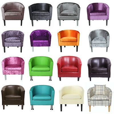 Panana Crushed Velvet Tub Chair Faux Leather Armchair Occasional Accent Chairs