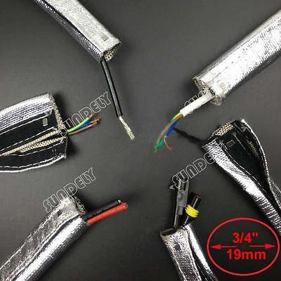 Metallic Heat Shield Sleeve Insulated Wire Hose Cover Wrap Loom Tube 19mm 3 Feet