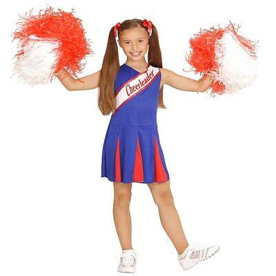 CHEERLEADER KINDER KOSTÜM Mädchen Gr. 140 blau-rot Sport Show Cheer (Sport Mädchen Kostüme)