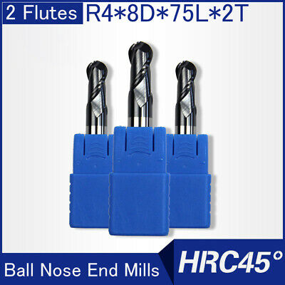 Hrc45 2flutes R4 Solid Carbide Ball Nose End Mills L 75mm