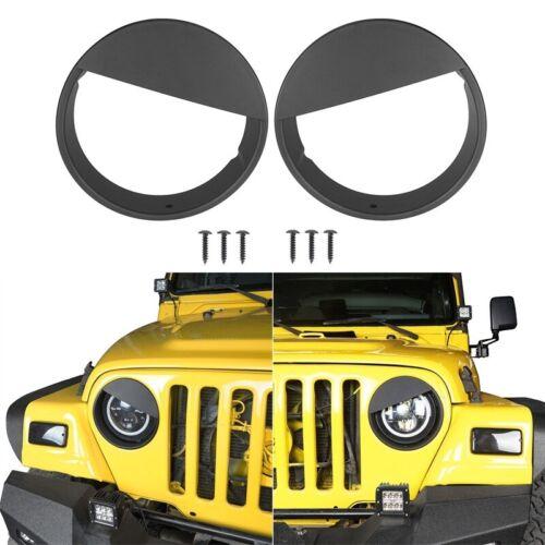For 07-18 JEEP WRANGLER JK 2 /& 4 Door Angry Eyes Matte Black Headlight Cover Bezel Eyelids