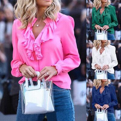 Womens Long Sleeve Plain Ruffled Frill Shirts Tops Ladies Casual V-Neck Blouse