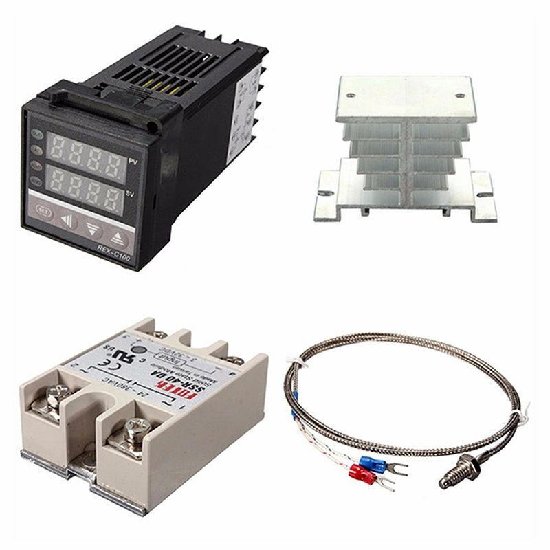 PID REX-C100 Temperature Controller SSR 40DA K Thermocouple Heat Sink TBB#BS40