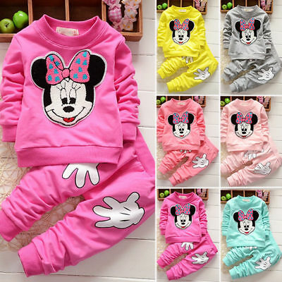 Kids Minnie Mouse Outfit (Baby Girl Minnie Mouse Long Sleeve Tops T-shirt+ Pants 2Pcs Outfits Set)