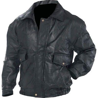 Mens Black Genuine Leather BOMBER JACKET Flight Coat Motorcycle Biker Lined New - Lined Black Leather