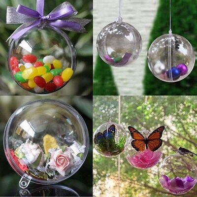 12pcs Ball Christmas Baubles Clear Fillable Xmas Tree Decoration Ornaments - Fillable Christmas Ornaments