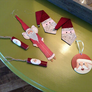 6 handmade wood and quilted Christmas ornaments