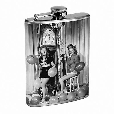Vintage New Years Eve D7 Flask 8oz Stainless Steel Hip Drinking Whiskey - New Years Eve Drinks