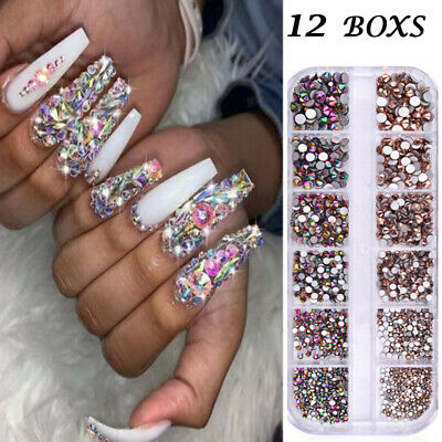 1440pcs Nail Art Rhinestones Glitter 3D Tips DIY Decoration Nail Art  Decor