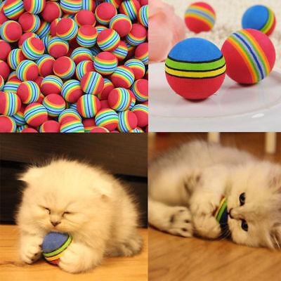 10x Colorful Rubber Pet Cat Kitten Soft Foam Rainbow Play Balls Activity Toys US