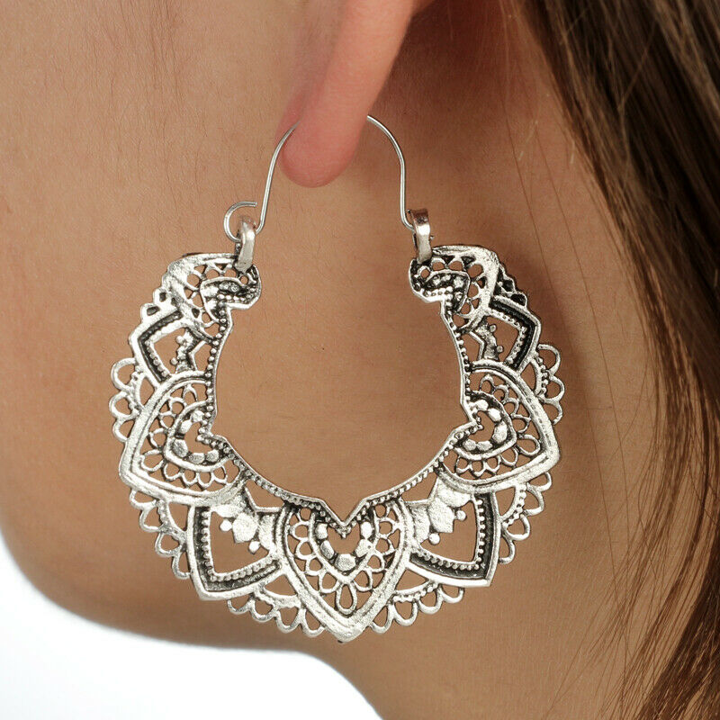 Fashion Hollow Out 925 Silver Hoop Earrings for Women Wedding Party Jewelry