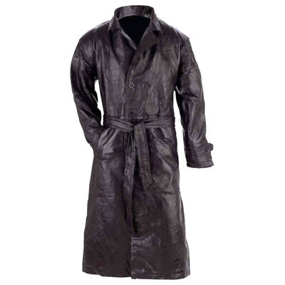 Giovanni Navarre Men's Black Patch Leather Full-Length Trench Coat Duster Jacket