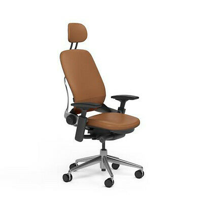 New Steelcase Adjustable Leap Desk Chair Headrest - Camel Leather Black Frame