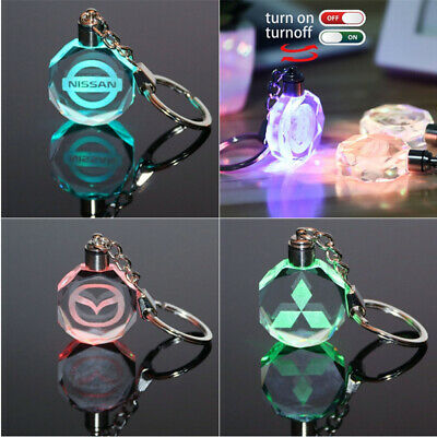 Car Logo Keychain Crystal Light Changing Car keyring Color LED Light with Box Led Lighted Logo Keychain
