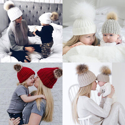 US New Women Baby Warm Winter Knit Wool Beanie Fur Pom Bobble Hat Crochet Cap