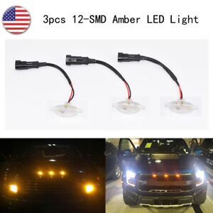 3pcs Clear 12-SMD Xenon Amber LED Front Grille Running Lights For Ford Raptor