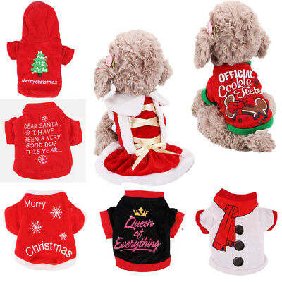 Pet Dog Puppy Santa Christmas Clothes Costumes Winter Warm Coat Xmas Apparel - Christmas Pet Costumes