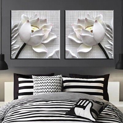 Framed 2Pcs White Lotu Flower Wall Art Decor 3D Painting Print on Canvas Picture - 3d Canvas Art