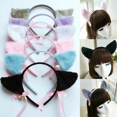 Cute Cat Ears Headband Fox Ears Hair Hoop Bell Bow Cosplay  Headband Costume