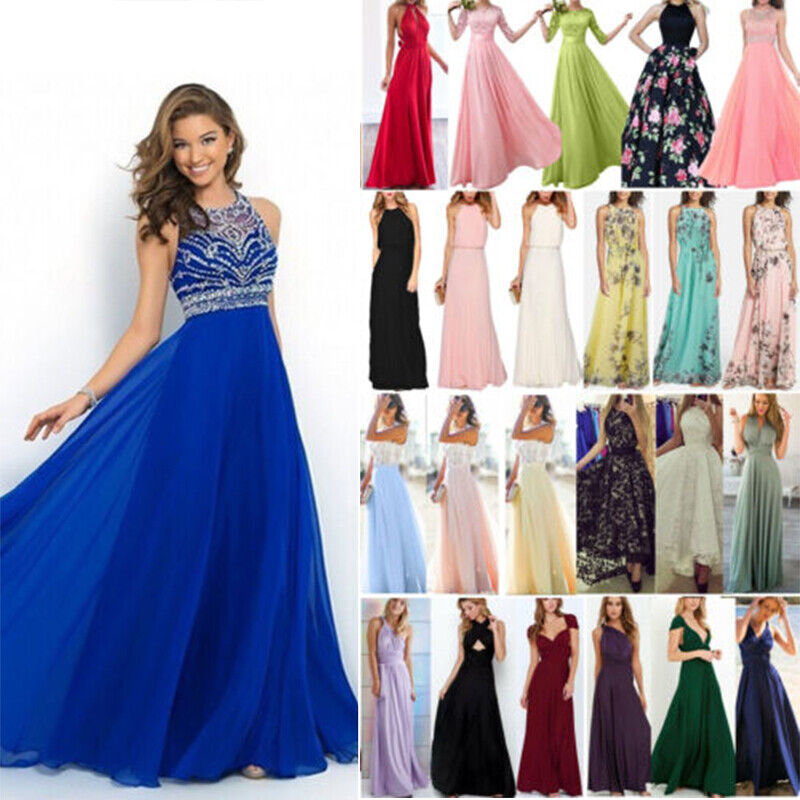 Womens Long Chiffon Evening Formal Party Ball Gown Prom Bridesmaid Maxi Dress UK