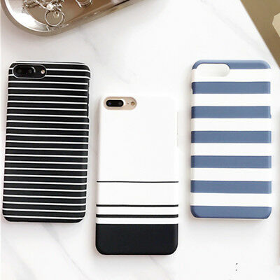 new arrival hard Stripe Phone Covers Cases For iPhone 8 7 6s 6 Plus Matte ()