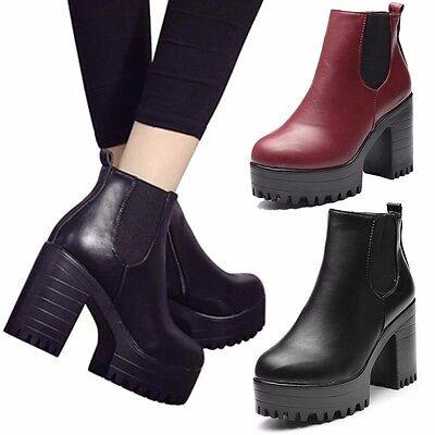 Punk Women Leather Ankle Boots Chelsea Chunky Platform Hidden Heel Combat Shoes