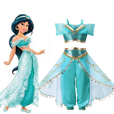 Kids Girls Sequin Aladdin Princess Jasmine Cosplay Costume Party Fancy Dress US](Fancy Dress Princess Jasmine)