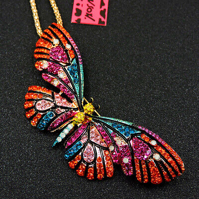 New Betsey Johnson Colorful Enamel Cute Butterfly Crystal Sweater Chain Necklace