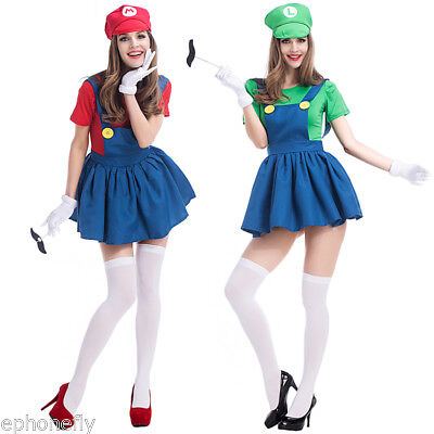 Womens Super Mario AND Luigi Workmen Couples Fancy Dress Costumes Outfits